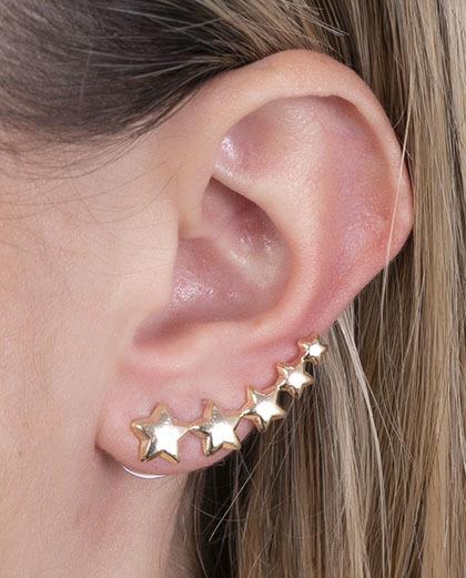 Ear cuff de metal dourado esther