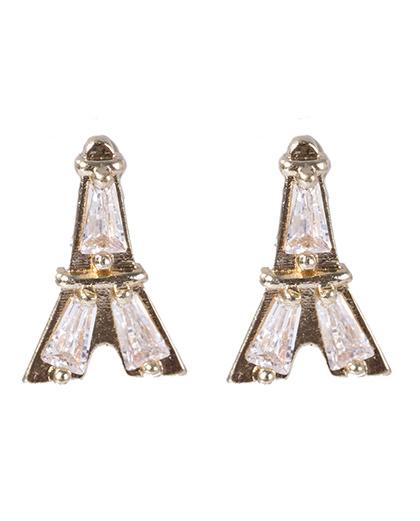 Brinco pequeno de metal dourado com pedra cristal izza