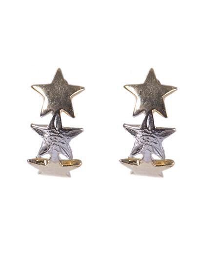 Argola folheada dourada, prata e rosé star