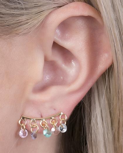 Ear cuff folheado dourado com pedras coloridas diva