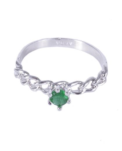 Anel folheado prateado com pedra verde izzy