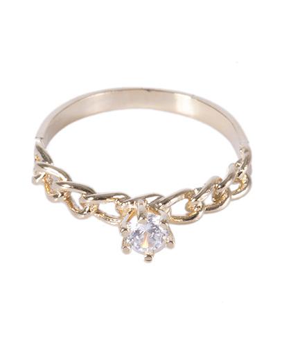 Anel folheado dourado com pedra cristal izzy
