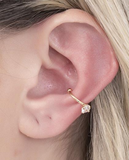 Piercing fake dourado com pedra cristal eliza
