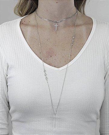 Kit 2 colares de metal prateado com strass cristal don juan