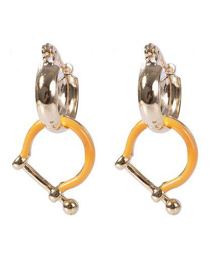 Argola de metal dourado e laranja justin
