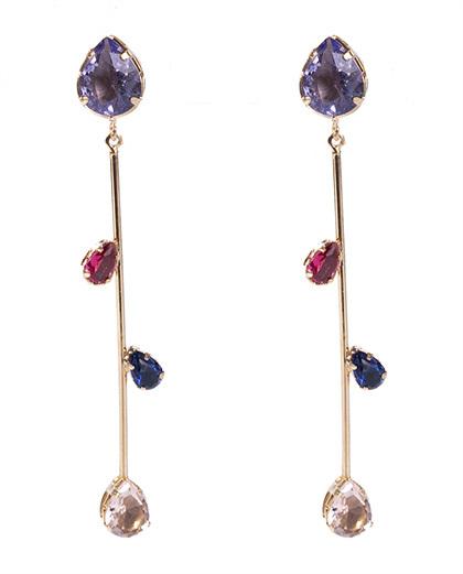 Brinco dourado com pedra lilás, rosa, azul e rosé Kerol