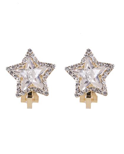 Brinco de pressão dourado com pedra cristal Star 2