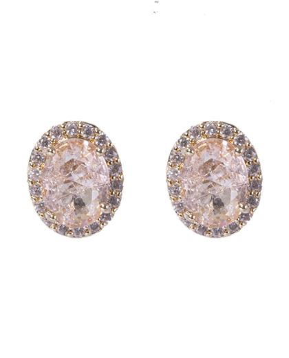 Brinco pequeno de metal dourado com pedra rosé Penina