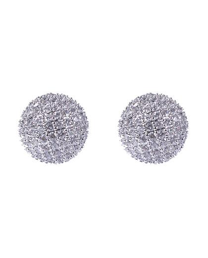 Brinco pequeno de metal prateado com strass cristal wana