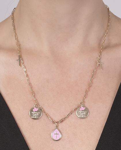 Colar de metal dourado com rosa Rebeca