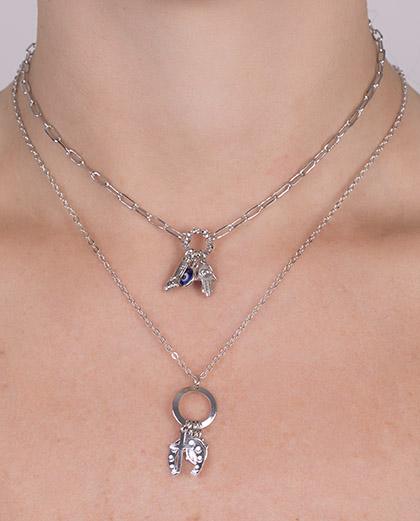 Kit 2 colares de metal prateado com pedra azul willy