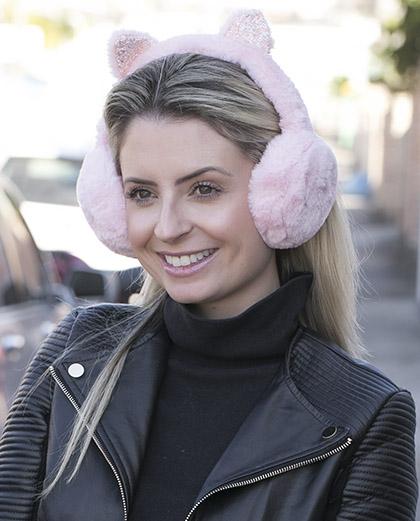 Protetor de orelhas de pelúcia rosa Cat
