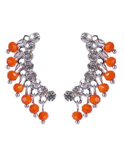 Brinco de metal prateado com pedra laranja Neila