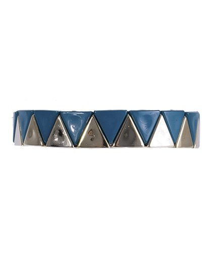 Pulseira de metal dourado com acrílico azul Cecília