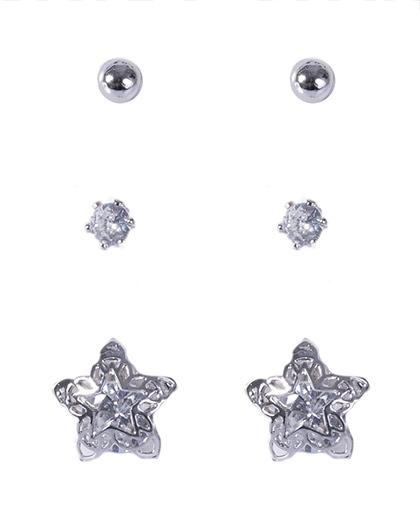 Kit 3 pares de brincos prateado com pedra cristal fisken
