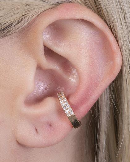 Piercing fake dourado com strass cristal berlim