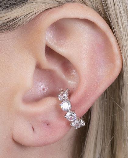 Piercing fake prateado com pedra cristal lódz