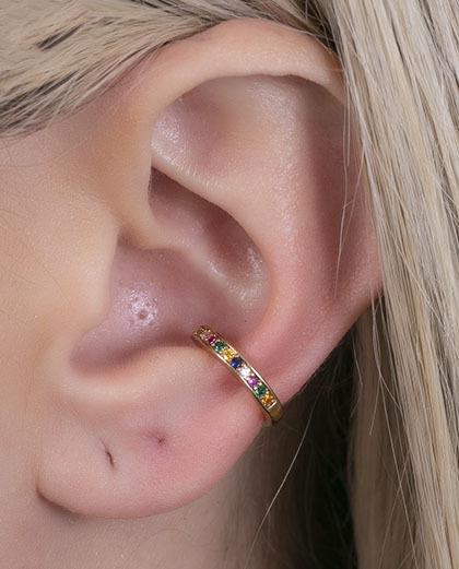Piercing fake dourado com strass colorido dublin