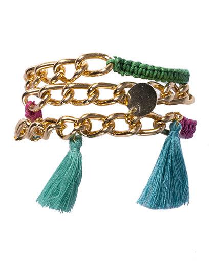 Pulseira dourada, azul, verde e rosa mirky