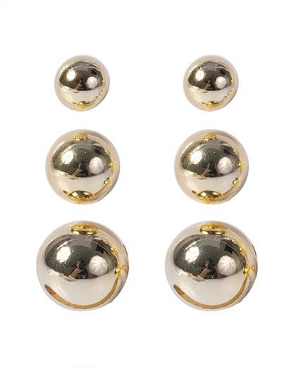 Kit 3 pares de brincos dourado maysa