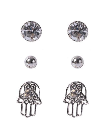 Kit 3 pares de brincos prateado com pedra cristal nays