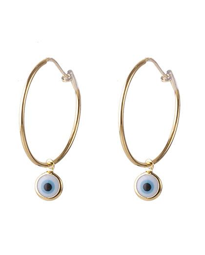 Argola folheada dourada com olho grego anne