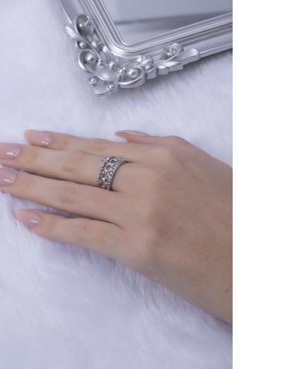 Anel prateado com strass cristal aninha