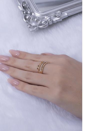 Anel dourado com strass cristal start