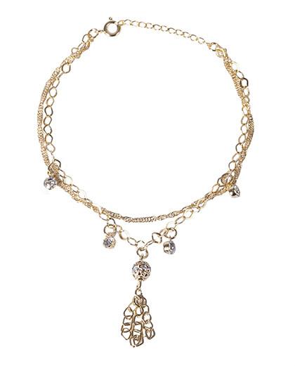 Pulseira dourada com pedra cristal vikos