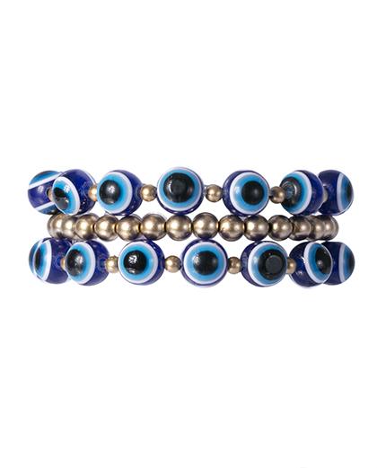 Kit 3 pulseiras dourada e azul laken