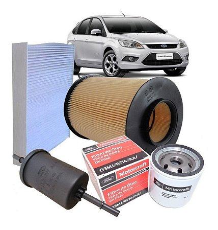 Kit Filtros Ar Óleo Combustível E Cabine Ford Focus 1.6 -2.0