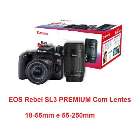 Câmera Canon Sl3 Premium Kit Com Lente Ef-s 18-55mm Stm + Ef-s 55-250mm Stm