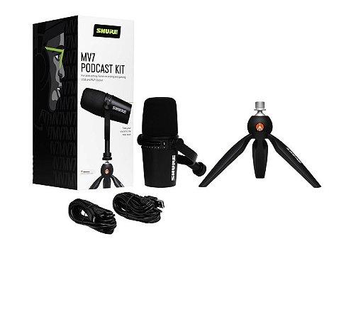 Microfone Shure Mv7 Kit Com Tripé De Mesa Manfrotto