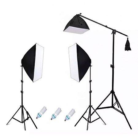 Kit Iluminação Estúdio Pk-sb03c/ Softbox 50x70 E Girafa 110v