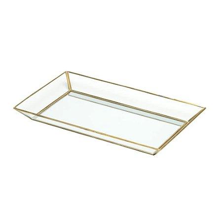 Bandeja Dourada Com Espelho E Vidro - Urban