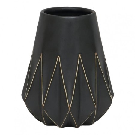 Vaso Em Cerâmica Preto Com Desenho Geométrico - BTC