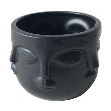 Cachepô Em Cerâmica Face Preto - BTC