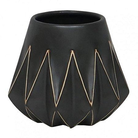 Vaso Em Cerâmica Preto Geométrico - BTC