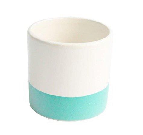 Vaso Branco e Verde Cachepô - We Make