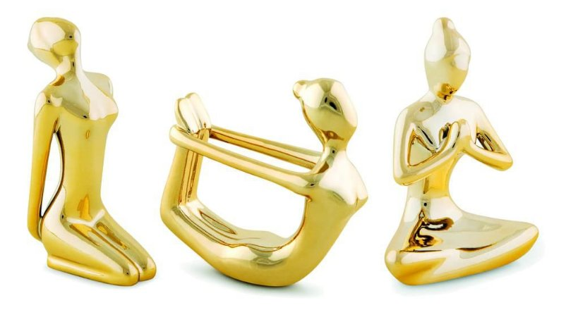 Kit Escultura Yoga Dourada - Mart