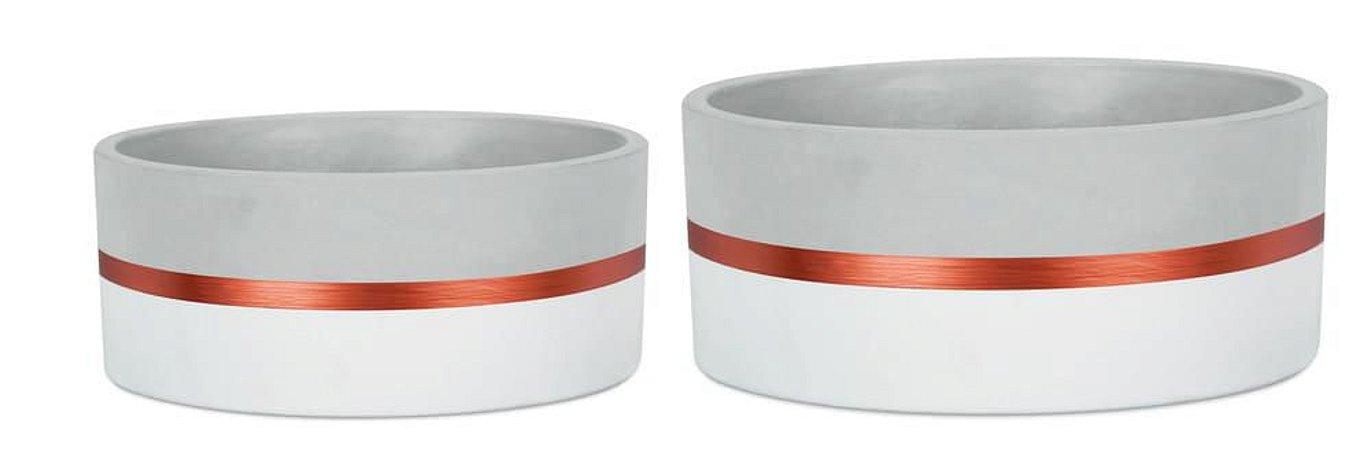 Kit Cachepot Branco E Cobre - Mart