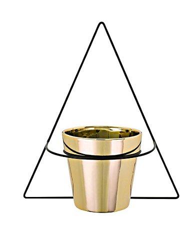 Vaso Dourado Com Suporte De Parede - Mart
