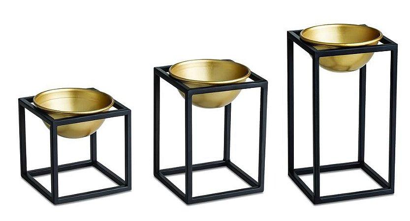 Kit Cachepot Dourado Em Metal Com Suporte - Mart
