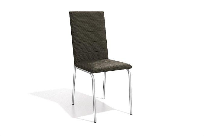 Par de Cadeiras Amsterdã Cromado - Marrom