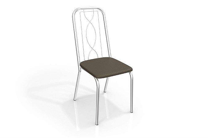 Par de Cadeiras  Viena Cromado - Marrom