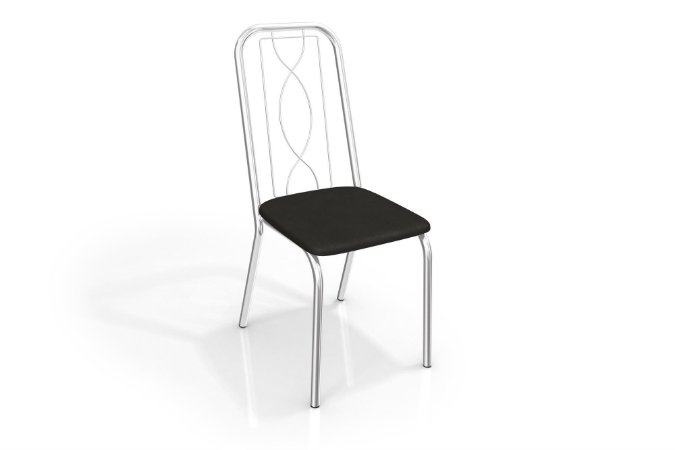 Par de Cadeiras  Noruega Cromado - Preto