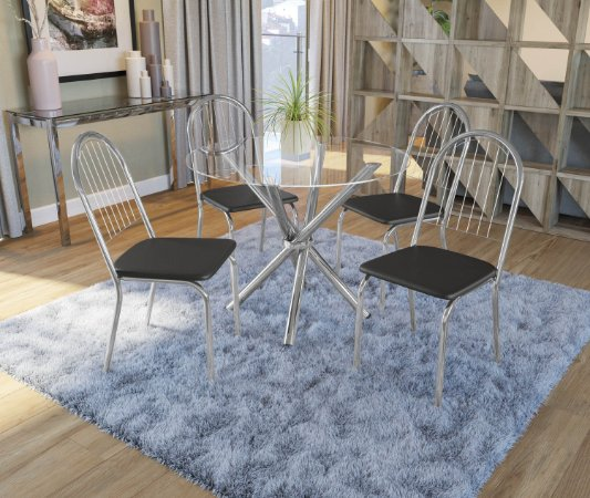 Conjunto de Mesa Volga Redonda 04 Cadeiras Noruega - CR110