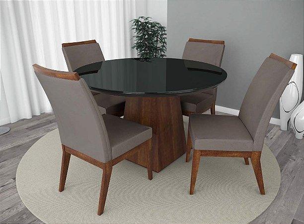Conjunto de Mesa Barcelona Redonda 04 Cadeiras Munique