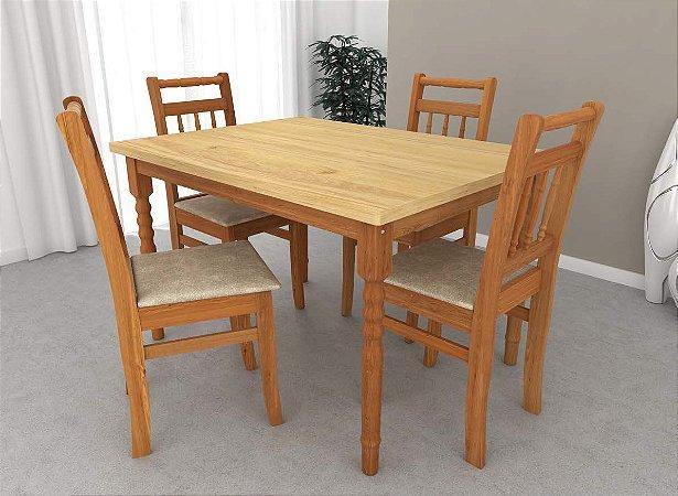 Conjunto de Mesa Torneada 04 Cadeiras Torneada