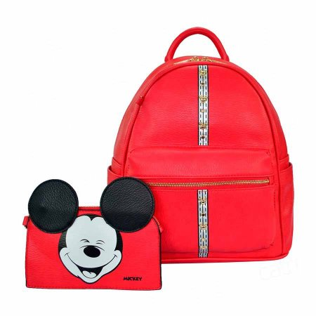 Bolsa mochila listra com necessaire - Mickey Disney